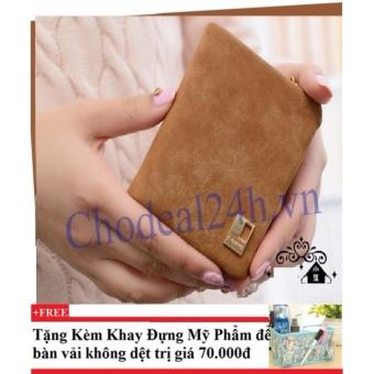 Ví cầm tay vuông nhỏ nhắn cho nữ CDVN02 (cam) + Tặng kèm khay đựng mỹ phẩm để bàn