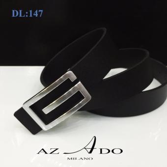 Dây lưng da bò DL:147, thời trang Azado (dây đen mặt bạc)