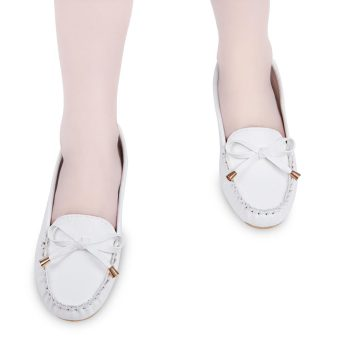 Casual Solid Color Round Toe Bowknot Flat Shoes(White) - intl
