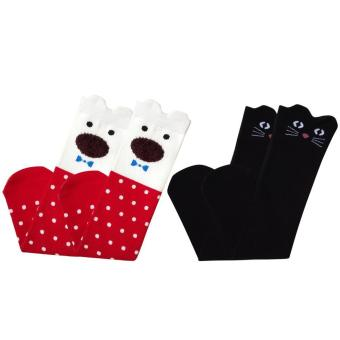 2 Pair of Kids Girls Spring Autumn Cotton Cartoon Cat Knee High Tube Sock Stockings Socks for 3-12 Years Old Girls Style B - intl