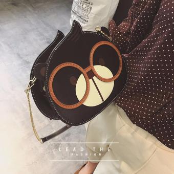 Túi xách thời trang nữ hình gấu đeo kính MH554 đen
