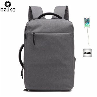 OZUKO Multi-functional Men Backpack Waterproof USB Charge Computer Backpacks 15Inch Laptop Bag Creative Student School Bags (Grey) - intl