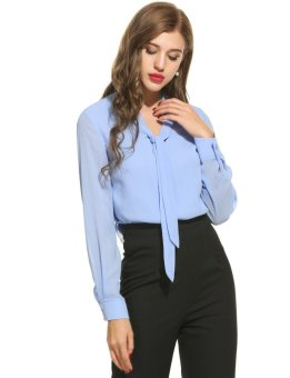 Linemart Women's Casual Chiffon Tie-Bow Neck Long Sleeve Solid Blouse Tops ( Light Blue ) - intl