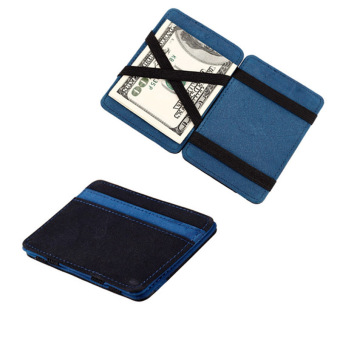 Mini Neutral Grind Magic Bifold Leather Wallet Card Holder Wallet Purse Blue