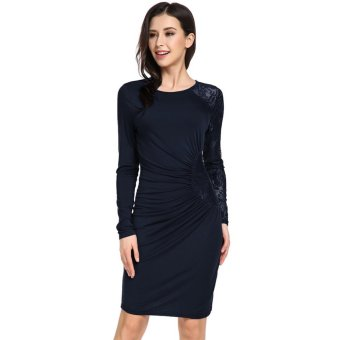 Cyber Women's Long Sleeve Lace Patchwork Side Ruched Bodycon Dress ( Navy Blue ) - intl