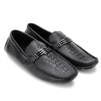 Giày lười nam da bò dập vân cá sấu MB58602 (Đen)