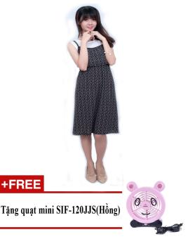 Đầm midi hoa lá cách điệu Korea Zaskin ZA01D5 + Tặng quạt mini shinil SIF-120JJS (Hồng)