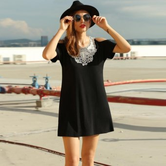 Sunweb Meaneor Women Casual Loose Lace O Neck Hollow Shoulder Batwing Sleeve Dress ( Black ) - intl