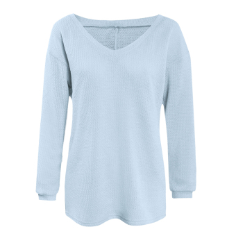 Fashion Women V-neck Loose Knitted Sweater Tops (Blue) - intl