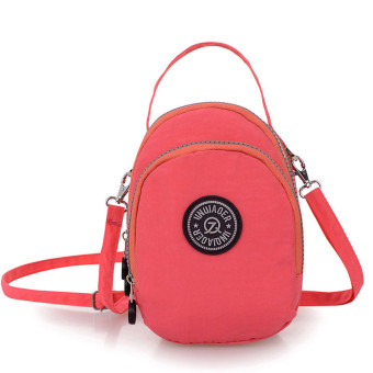 Waterproof Nylon Handbag Shoulder Diagonal Bag Messenger Bag Watermelon Red - Intl