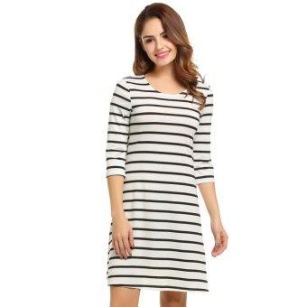 Linemart Women Casual O-Neck Half Sleeve Striped Dress ( White ) - intl