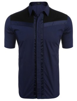 Linemart Men's Short Sleeve Contrast Color Patchwork Casual Button Down Shirt ( Navy Blue ) - intl