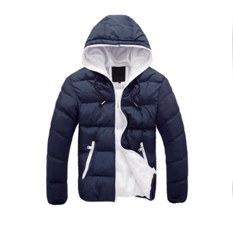 Winter Casual Jacket Zipper Outwear Coat (Dark blue) - Intl