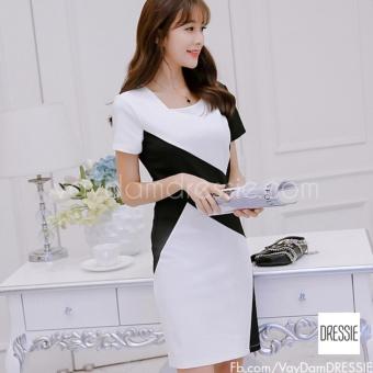 Đầm Công Sở Nữ Đẹp Cao Cấp Thời Trang DRESSIE - DS0637 (Trắng Đen)