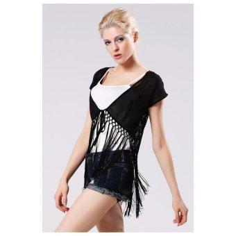 Sunweb New Stylish Lady Women's Fashion Short Sleeve V-Neck Tassel Lace Splicing Blouse Shirt - intl
