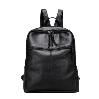 2017 New Women PU Leather Lesuire School Backpack (Black) - intl