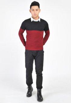 Áo len nam cổ tròn N505 (Đen đỏ)