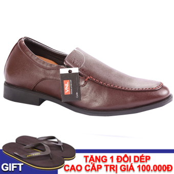 Giày tây nam da thật cao cấp Da Giày Việt Nam VNL1AZ11TN-1 (Nâu) + Tặng 1 đôi dép