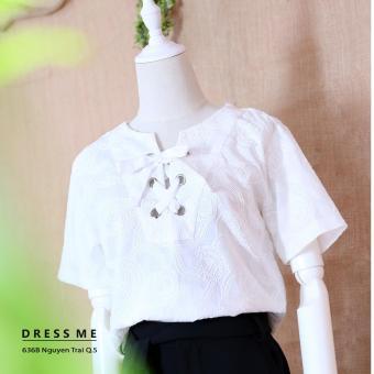 Áo ren thêu ngắn tay đan dây ngực thiết kế Dress Me