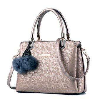 LAN STORE Lady Girl Premium Female Tote Bags PU Leather Women Handbags (Gold) - intl