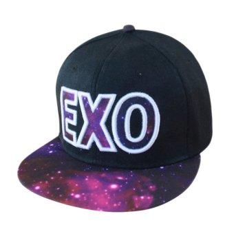Fashion EXO Adjustable Snapback Hip-hop Baseball Cap Hat Unisex Purple (Intl)