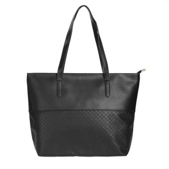 2016 New Casual Totes Embossing Lattice PU Leather Handbags Weaving Women(Black) - intl