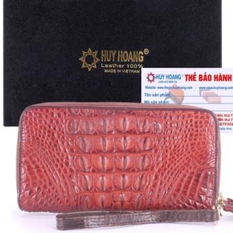 HL3210 - Ví nữ da cá sấu Huy Hoàng 2 khóa gai màu nâu đỏ