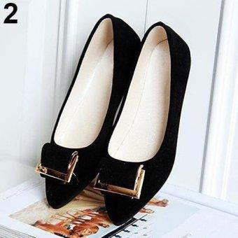 Bluelans Women's Fashion Slip-on Metal Decor Elegant Pointed Toe Shoes 7.5 (Black & Golden) - intl