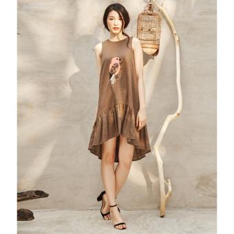 Đầm Linen Hạ Eo Thêu Chim Sẻ Ad19 (Hồng)