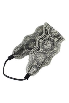 DHS Lace Headband Wide Headwraps (Black) - intl