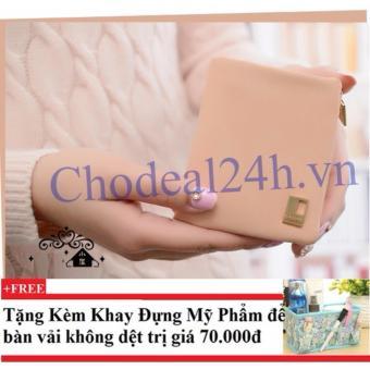 Ví cầm tay vuông nhỏ nhắn cho nữ CDVN02 (hồng phấn) + Tặng kèm khay đựng mỹ phẩm để bàn