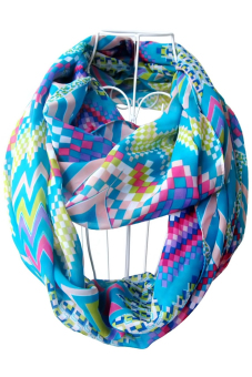 Women Ladies Girls Chiffon Waves Geometric Pattern Printing Scarf Multicolor Infinity Loop Circle Scarf (Blue)