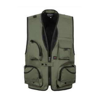BolehDeals Multi Pocket Fishing Mesh Vest Outdoor Hunting Travel Jacket 5XL Army Green - intl