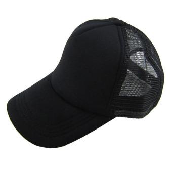 Casual Hat Solid Baseball Cap Trucker Mesh Blank Visor Hat Black