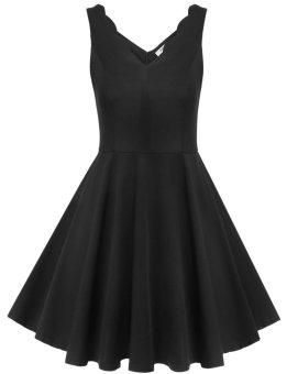 Linemart Meaneor Women Sleeveless V-Neck Sundress Pure Color Slim Casual Party Mini Pleated Dress ( Black ) - intl