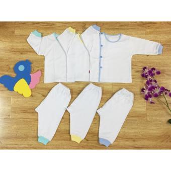 Combo 3 Bộ bác sỹ tay dài màu trắng cho bé trai Nanio size 1 (3 -5kg)