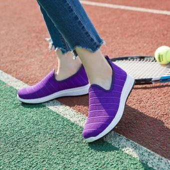 Giày lười nữ lưới thoáng khí, đế chống trơn - GiayKS-SL004 (tím)