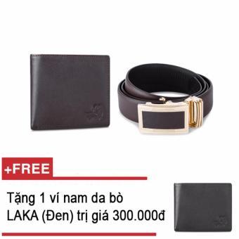 Bộ ví và thăt lưng nam da bò thật LAKA nâu trơn + Tặng 01 ví nam da bò LAKA (Đen trơn) trị giá 300.000Đ
