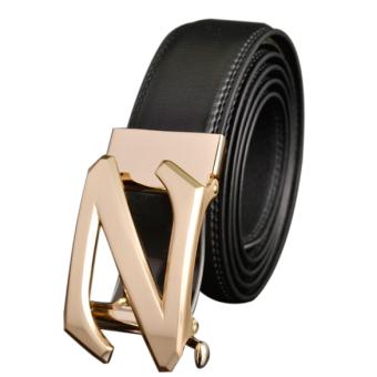Mens Gold Automatic Buckle Leather Formal POP Waist Strap Belts 120cm - intl