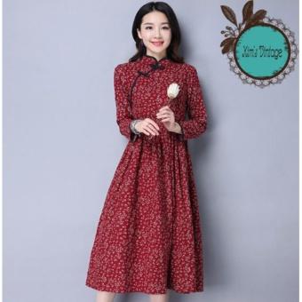 Đầm Trung Hoa Cách Tân ( Màu Đỏ)