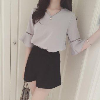 Chiffon Shirt Short Sleeved summer 2017 new women's Pendant hollow falbala sleeveless short sleeved summer horn - intl