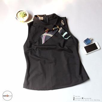 Áo kiểu nữ thời trang cổ sen lệch đính nơ - Đen - Rain shop