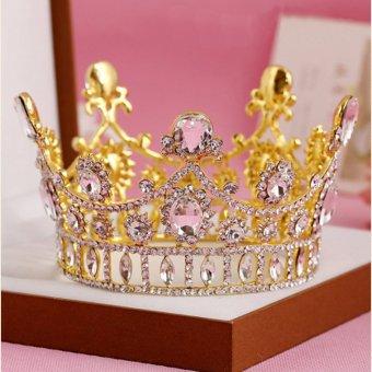 8cm High Princess Wedding Bridal Prom Party Crystal Crown Headband Tiara Gold - intl