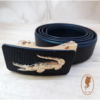 (Hugeman) Thắt lưng dây nịt nam da thật màu đen may viền 2 bên TL00123