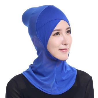 Fashion Women Lace Muslim Hijab Solid Stretch Net Cross Modal Trim Islamic Turban Head Cover - intl