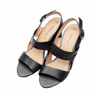 Sandal nữ gót trụ da thật