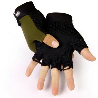 Găng tay hở ngón nam màu xanh rêu