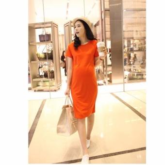 Đầm (váy) bầu công sở cao cấp màu cam MDL-VB1006