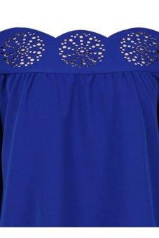 Slash Collar Long Sleeve Laciness Women's Dress M Blue TC - Intl