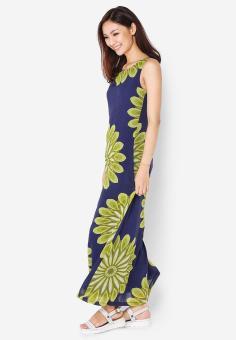Đầm dài sát nách họa tiết hoa lớn xanh lam Cirino